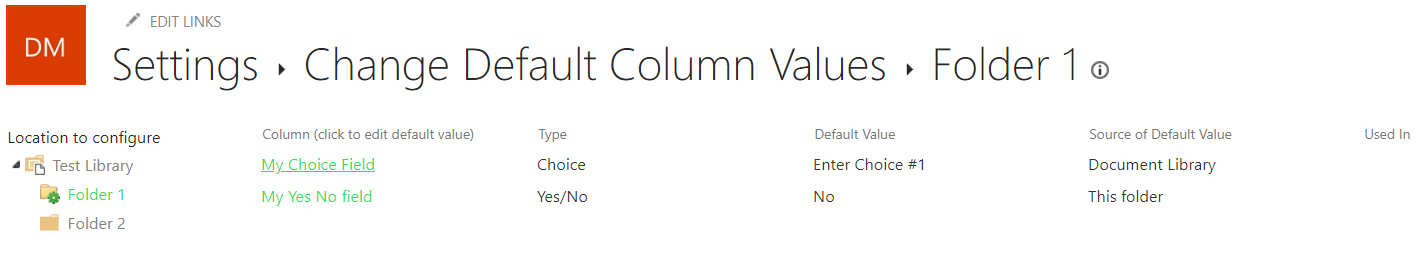 SharePoint library/folder default field values